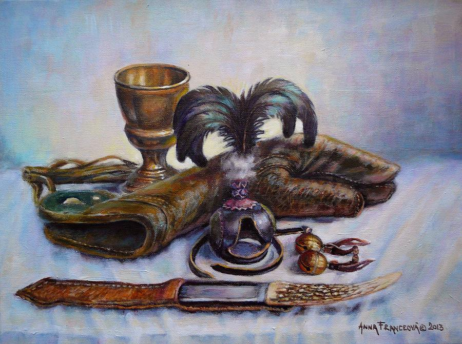 Falconry Painting - Falconry Still Life. by Anna Franceova