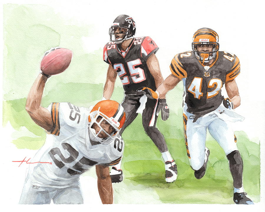 Falcons Bengals Football Watercolor Portrait Drawing by Mike Theuer