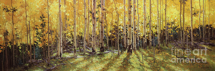 Colorado Painting - Fall Aspen Panorama by Gary Kim