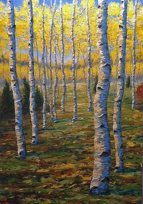 Aspen Trees Painting - Fall Aspens by Ned Shuchter