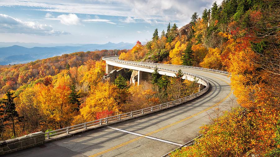 Fall at Linn Cove Viaduct Photograph by Alex Mironyuk