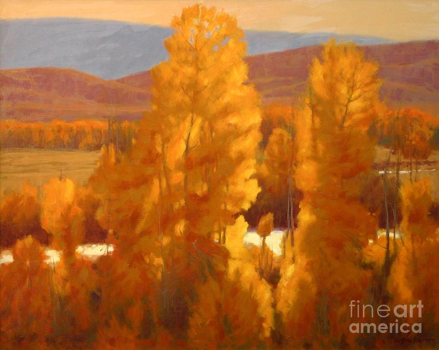 Landscape Paintings Painting - Fall Backlight by Doyle Shaw