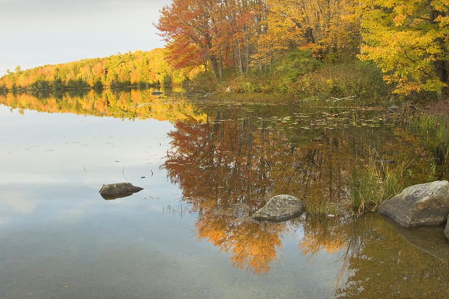 Maine Photograph - Fall Colors On Taylor Pond Mount Vernon Maine by Keith Webber Jr