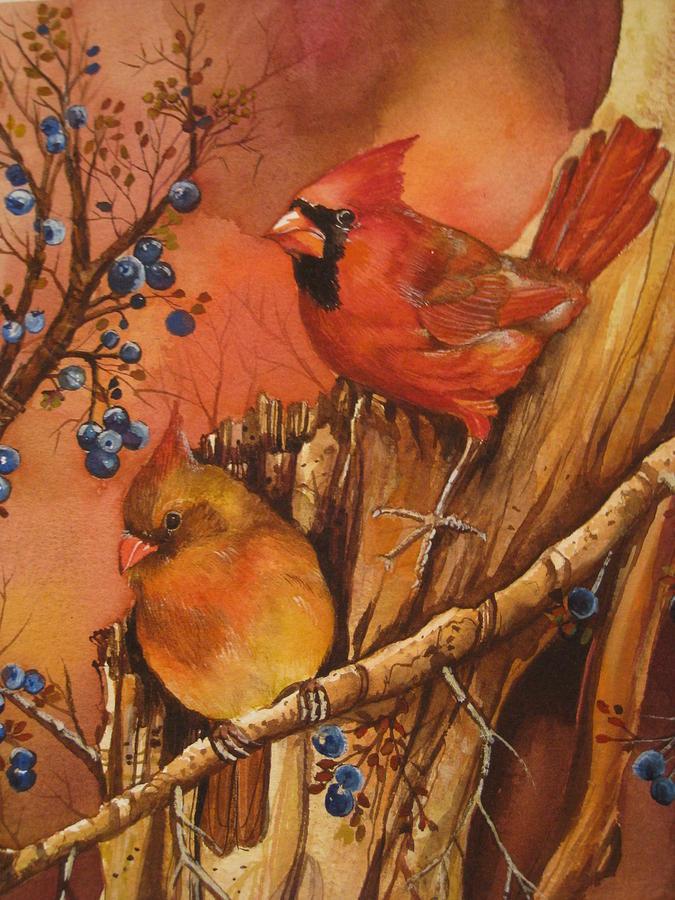 Fall Painting - Fall Companions by Cheryl Borchert
