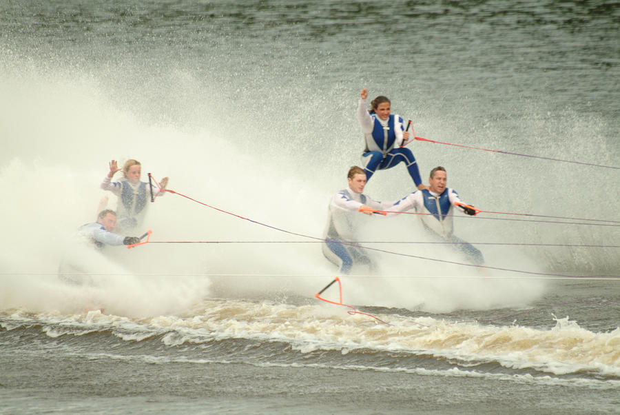 Waterski Photograph - Fall During Waterskiing by Devinder Sangha