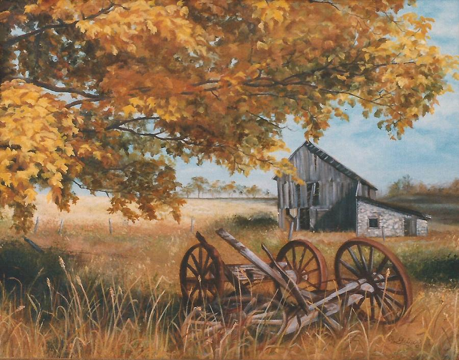 Fall Farm Scene Painting by Cathy Geiger