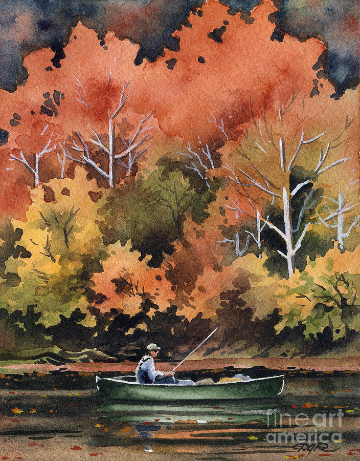 Fly Painting - Fall Fishing by David Rogers