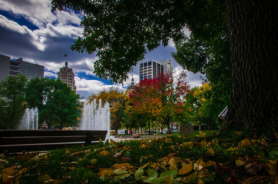 City Photograph - Fall Fort Wayne Skyline by Gene Sherrill