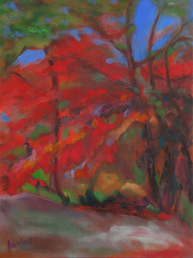 Red Tree Painting - Fall Fusion by Susan Hanlon