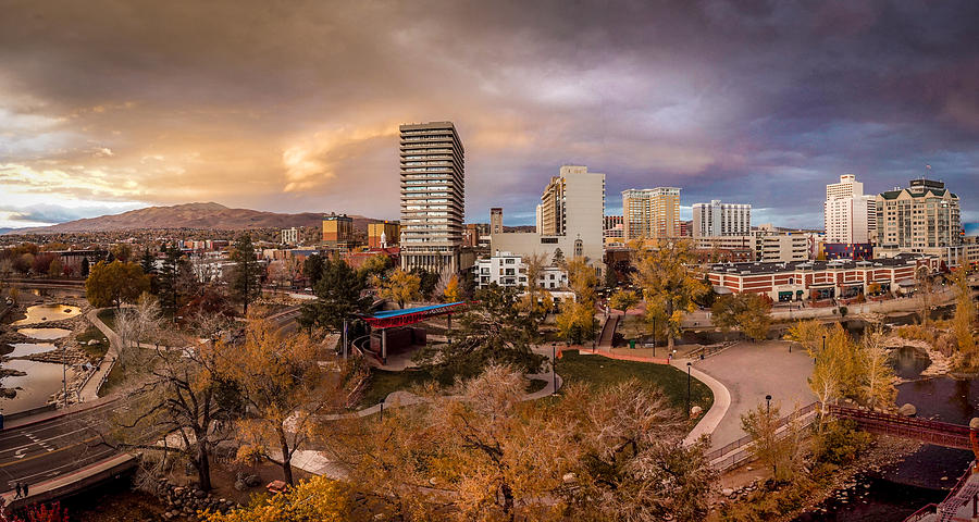 Reno Photograph - Fall In Downtown Reno by Tony Fuentes