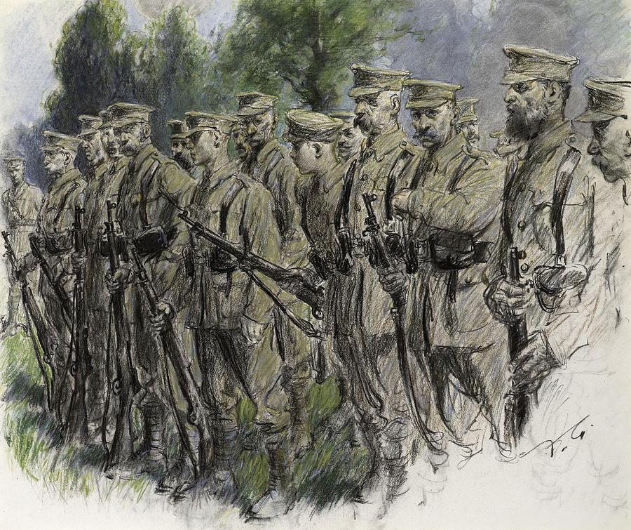 Soldier Pastel - Fall In Norfolk Volunteers by Frank Gillett