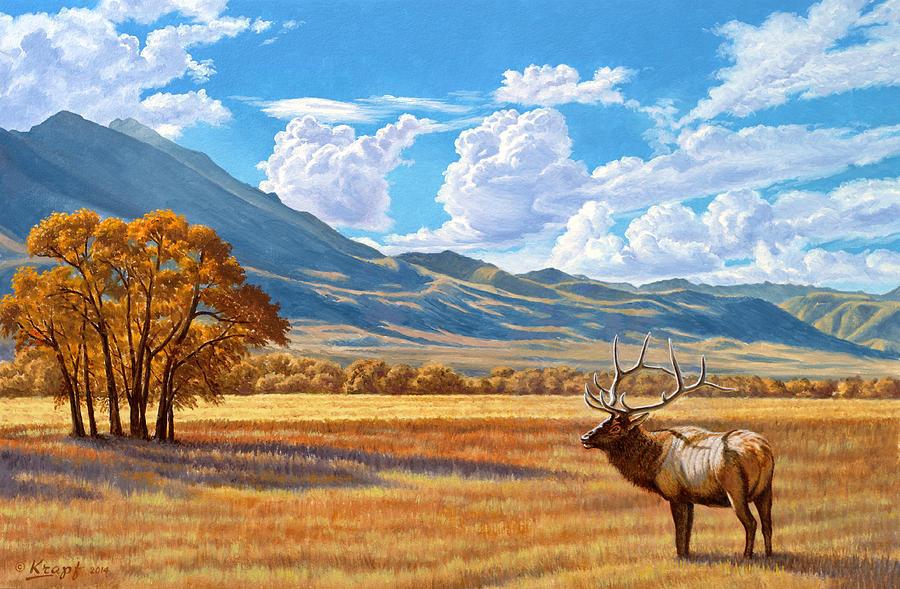 Elk Painting - Fall In Paradise Valley by Paul Krapf