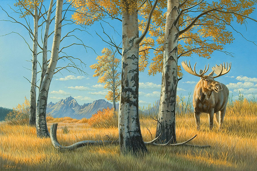 Landscape Painting - Fall Landscape - Moose by Paul Krapf
