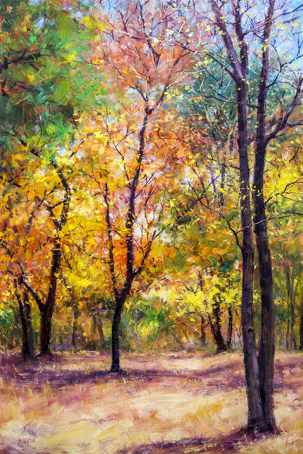 Fall Leaves At Indiana University Painting by Bill Inman
