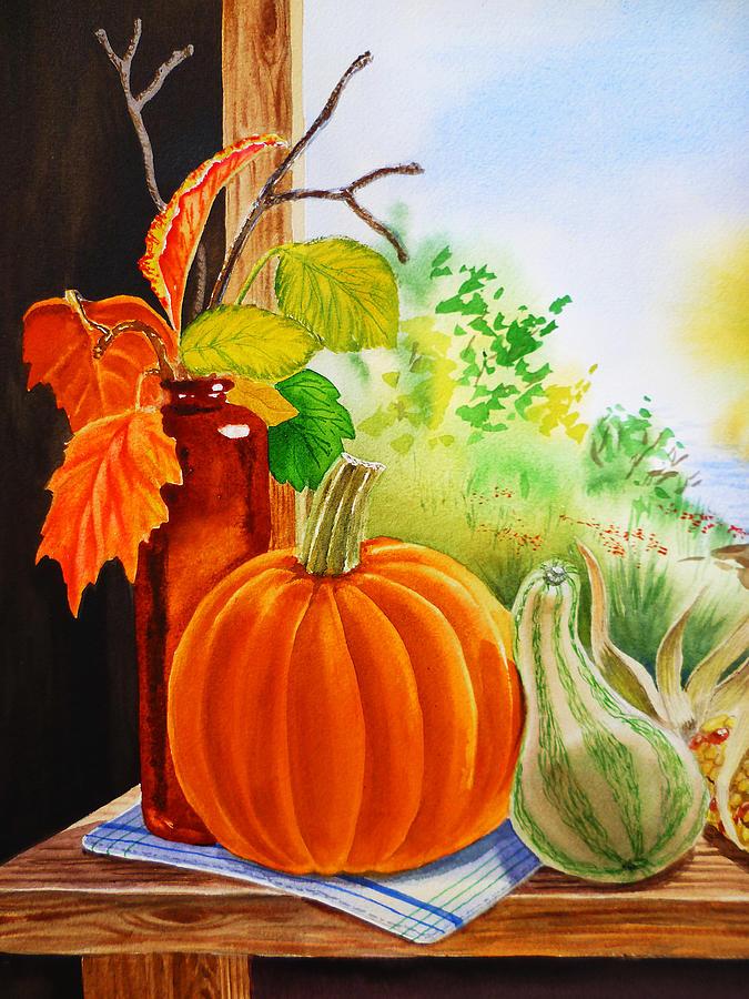 Autumn Painting - Fall Leaves Pumpkin Gourd by Irina Sztukowski