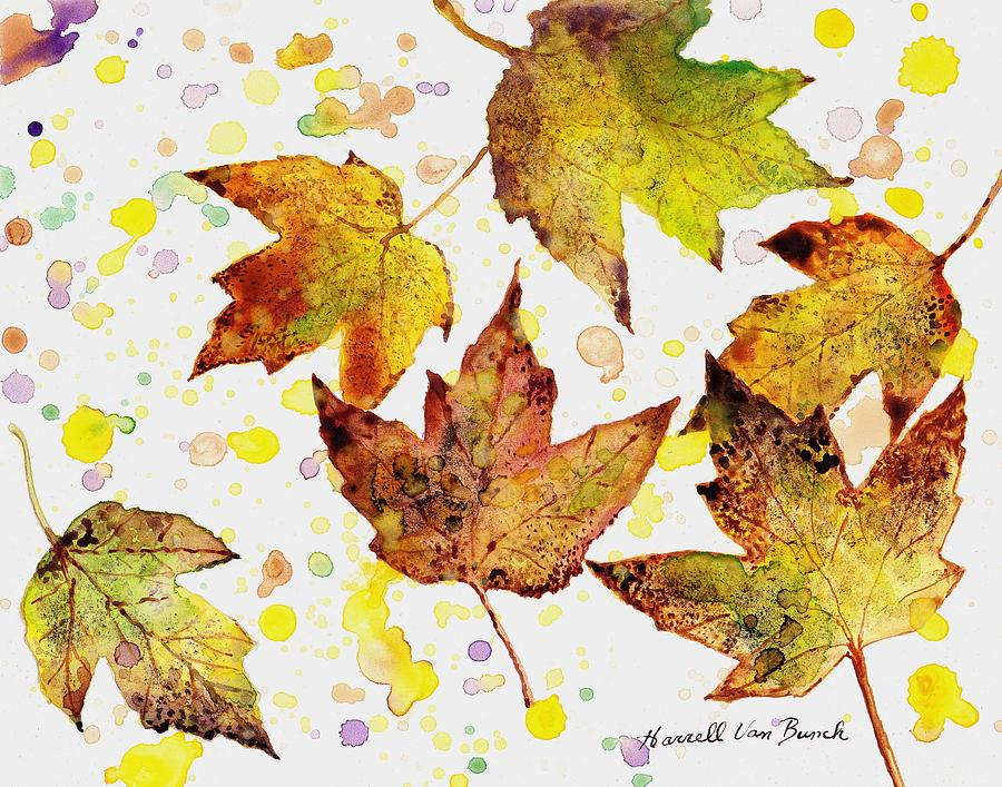 Fall Painting - Fall Leaves by Van Bunch