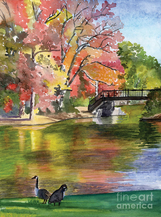 Landscape Painting - Fall Light - Roger Williams Park by Hollis Machala