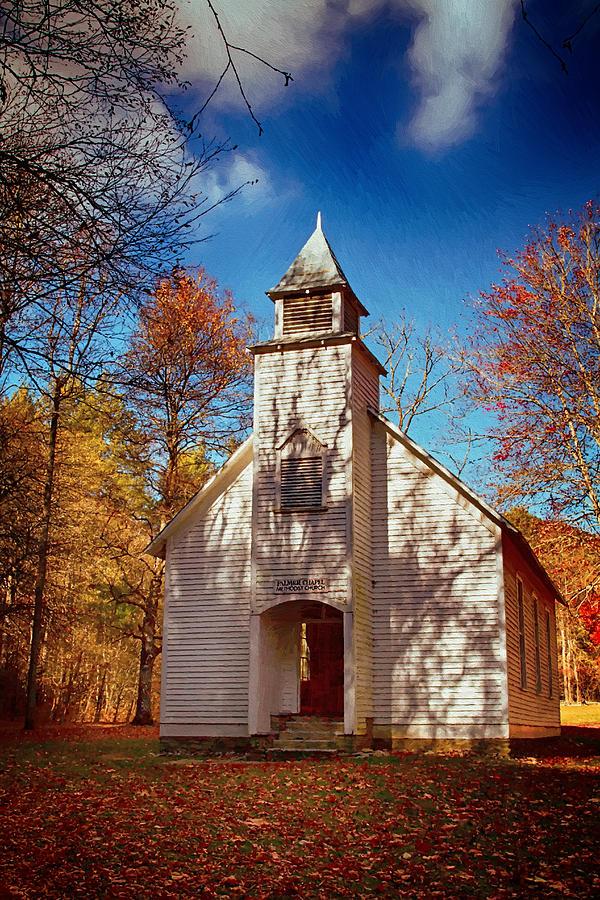 Chapel Painting - Fall Morning At Palmer Chapel In Cataloochee by John Haldane