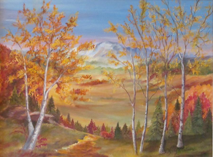 Landscape Painting - Fall Mountain Path by Judy Nelson