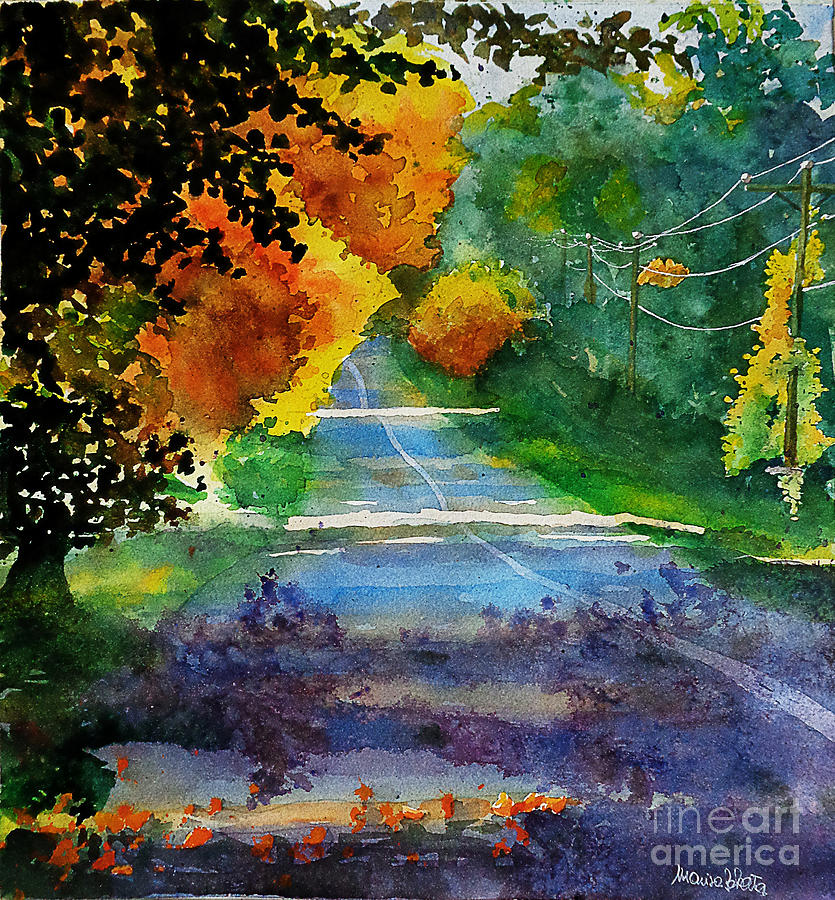 Landscape Painting - Fall path by Marisa Gabetta