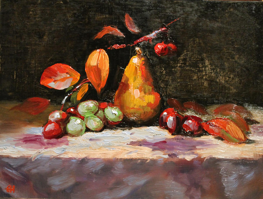 Still Life Painting - Fall Pear by Ellen Howell