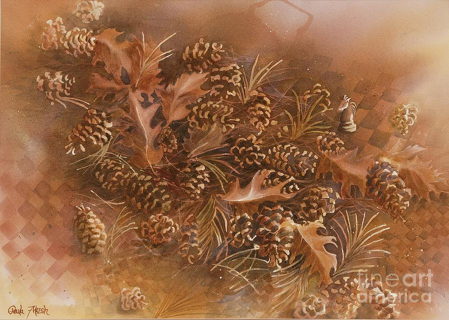 Autumn Painting - Fall Pinecones by Paula Marsh