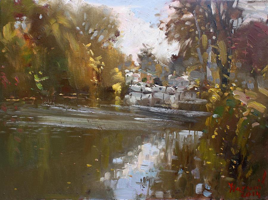 North Tonawanda Painting - Fall Reflections At North Tonawanda Canal by Ylli Haruni