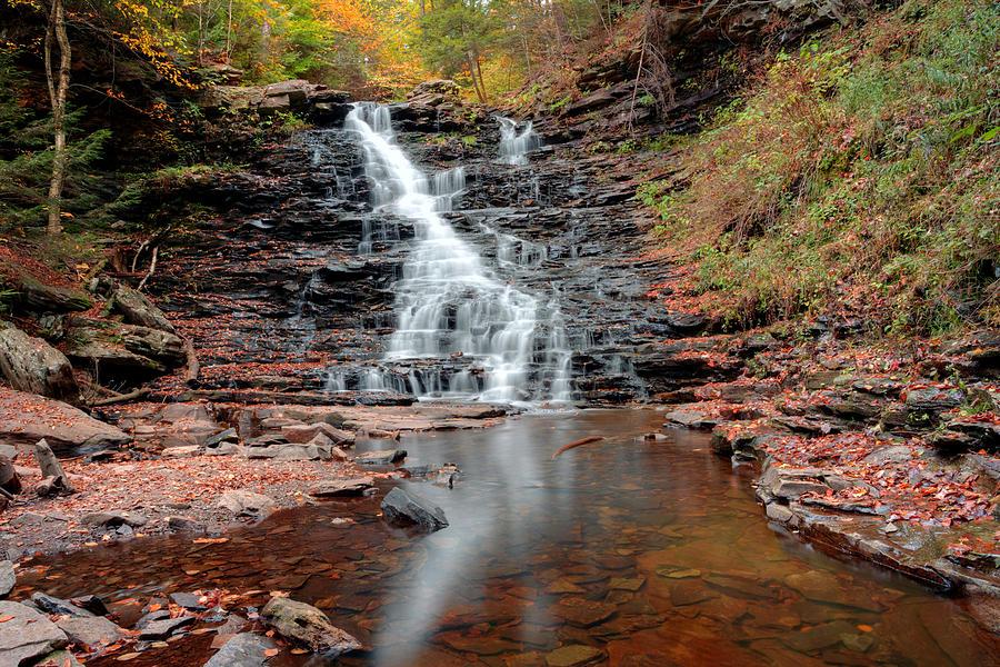 Ricketts Glen Photograph - Fall Reflections Of F L Ricketts Falls by Gene Walls
