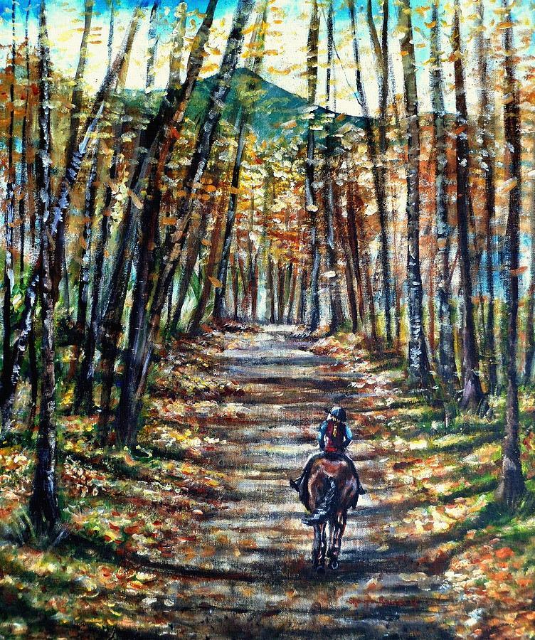 Horse Painting - Fall Ride by Shana Rowe Jackson