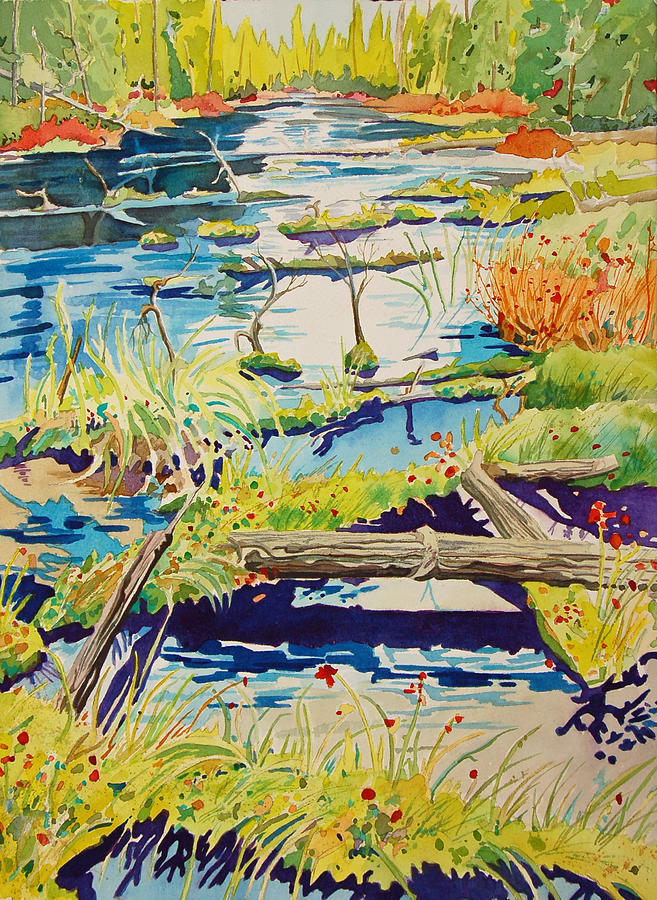River Painting - Fall River Scene by Terry Holliday