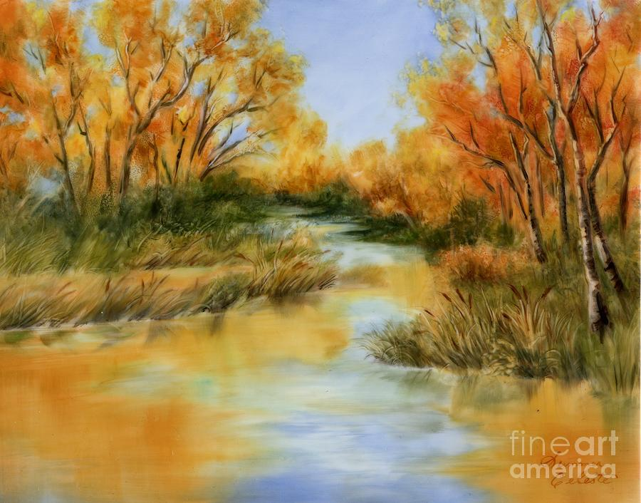 Landscape Painting - Fall River by Summer Celeste
