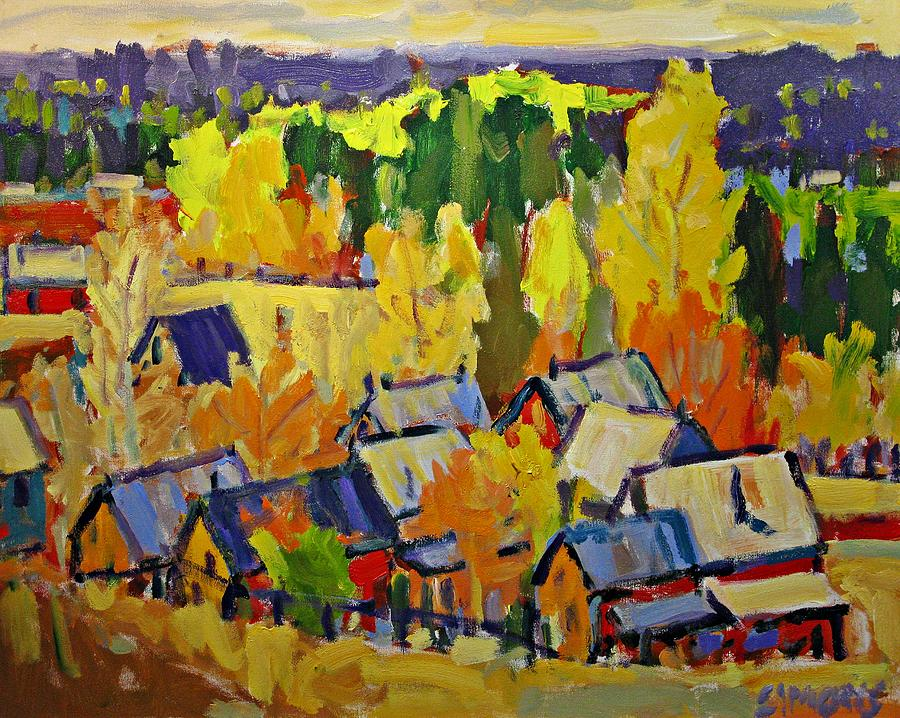 Fall Painting - Fall Sheds by Brian Simons