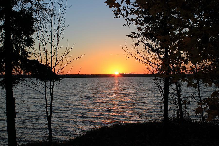 Sunset Photograph - Fall Sunset At Long Lake by Rhonda Humphreys