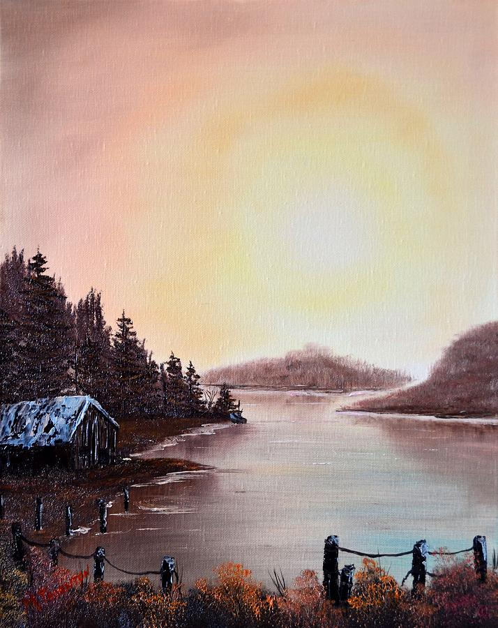 Fall Sunset on the Bay Painting by Marsha Thornton