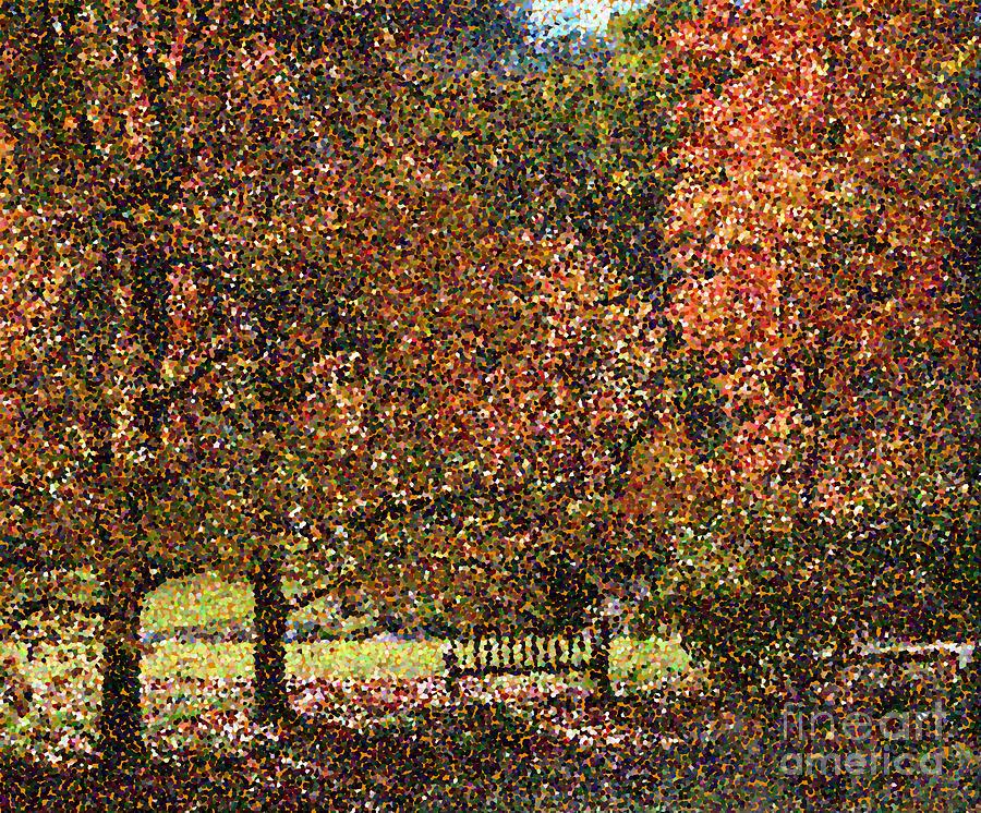 Pointillism Digital Art - Fall Trees by Nicholas Burningham