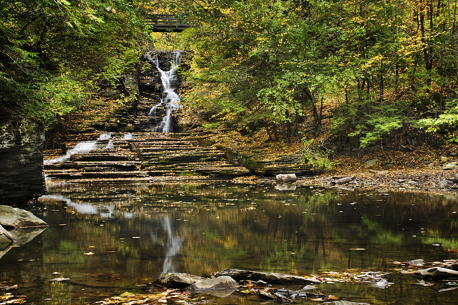 Waterfall Photograph - Fall Waterfall Creek Reflection by Christina Rollo