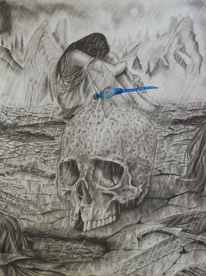 Skulls Drawing - Fallen by Amber Stanford