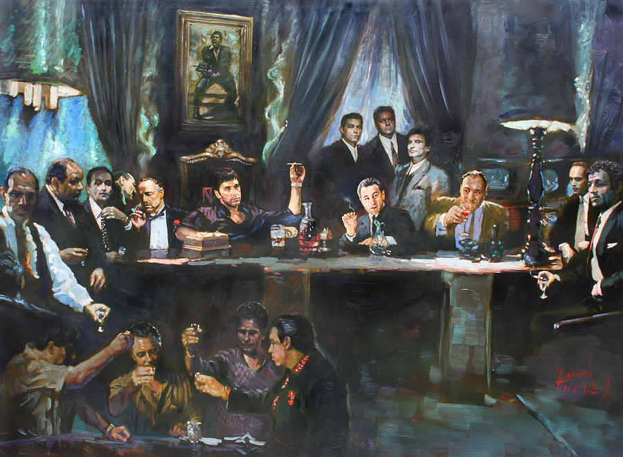 Gangsters Painting - Fallen Last Supper Bad Guys by Ylli Haruni