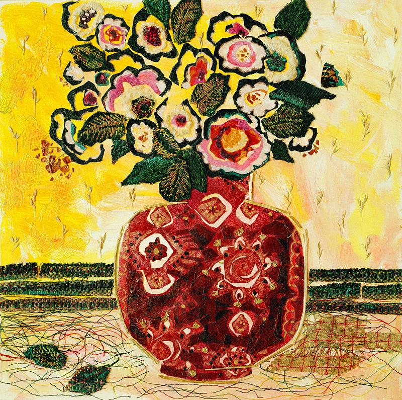 Flowers In A Vase Mixed Media - Fallen Leaves by Diane Fine