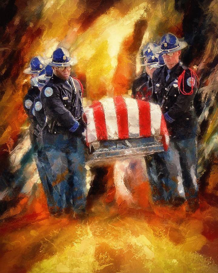 Police Painting - Fallen Officer by Christopher Lane