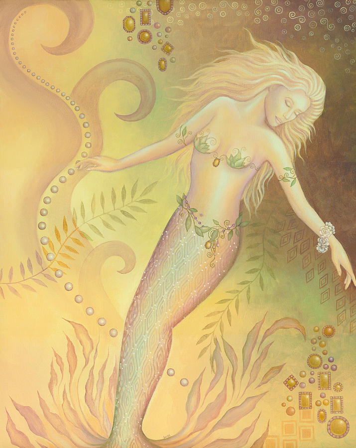 Mermaid Painting - Falling Into The Abyss by B K Lusk