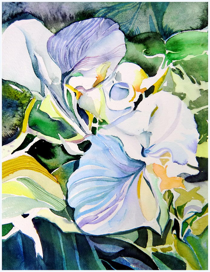 Watercolor Painting - Falling Orchids by Mindy Newman