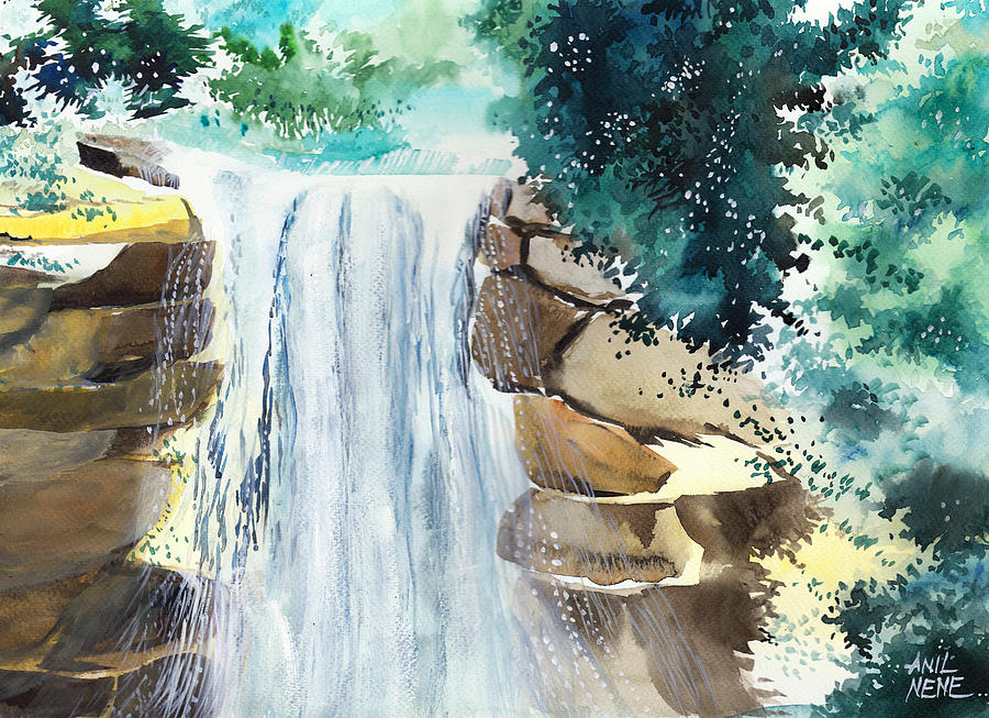 Nature Painting - Falling Waters by Anil Nene
