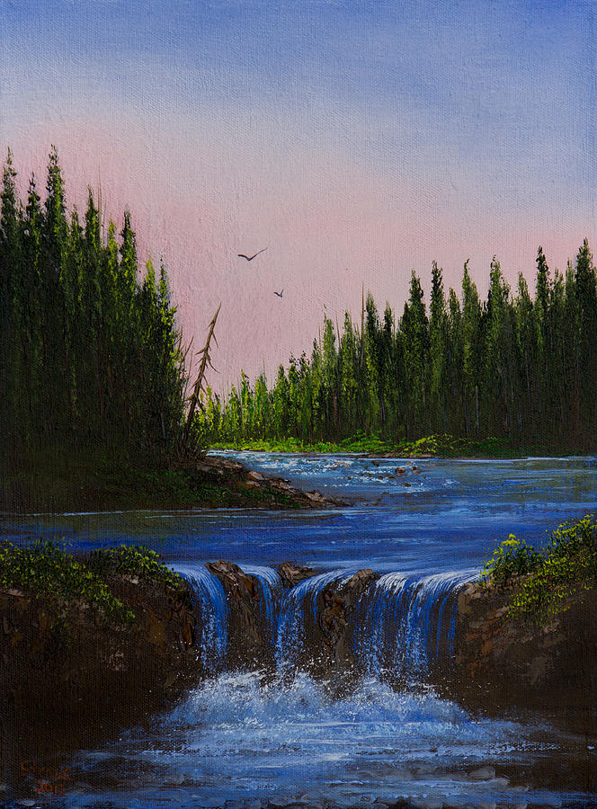 Landscape Painting - Falls At Rivers Bend by C Steele