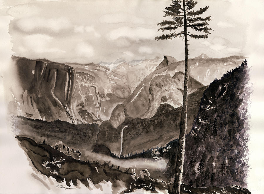 Trees Painting - Falls Of The Yosemite Painting by Warren Thompson