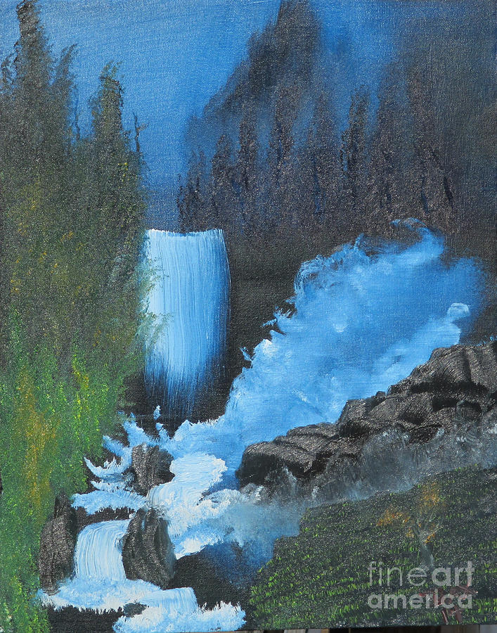 Landscape Painting - Falls On The Rocks by Dave Atkins