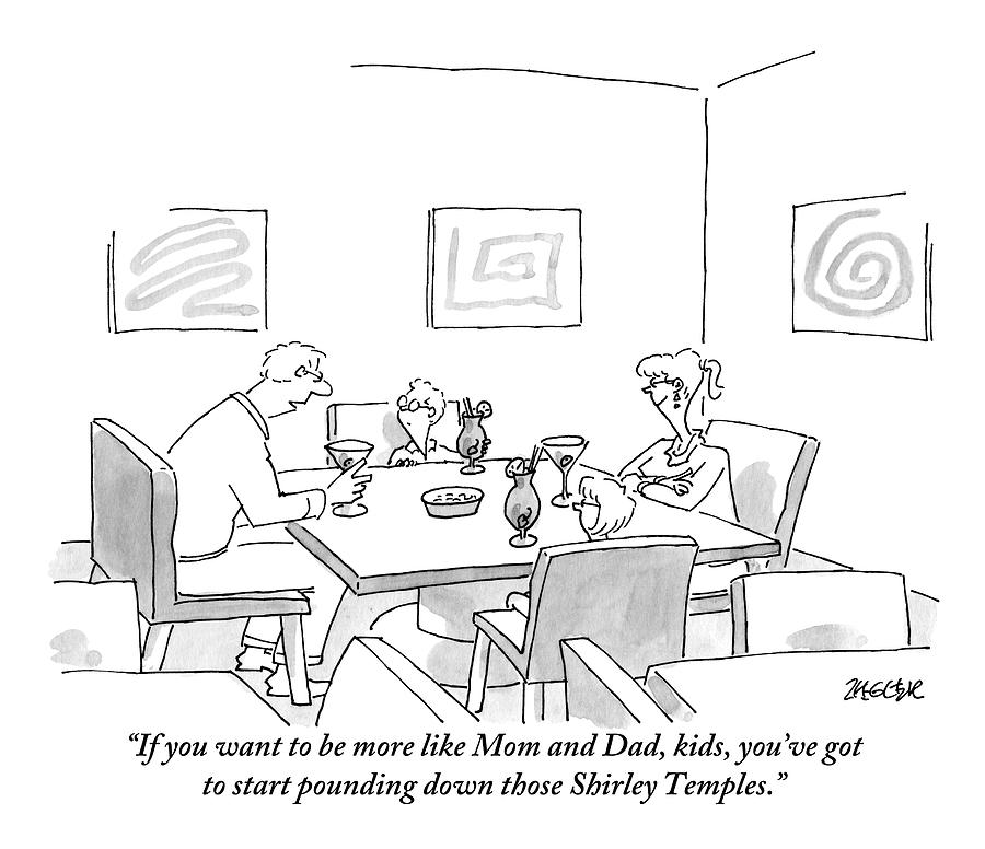 Family Around Table Drawing by Jack Ziegler