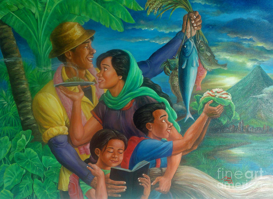 Family Painting - Family Bonding In Bicol by Manuel Cadag