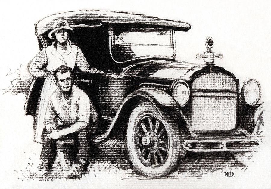 Family Car Drawing - Family Car by Natasha Denger