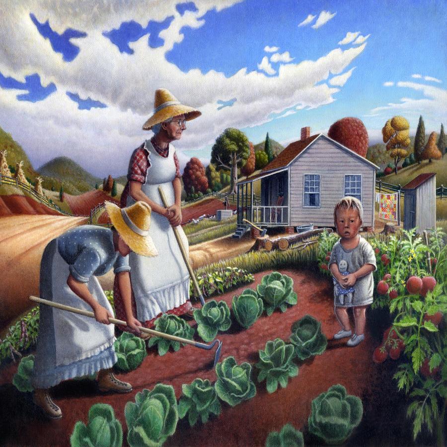 Family Garden Country Farm Landscape